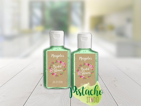Custom Bridal Shower Favor Labels Mini Hand Sanitizer Pocketbac