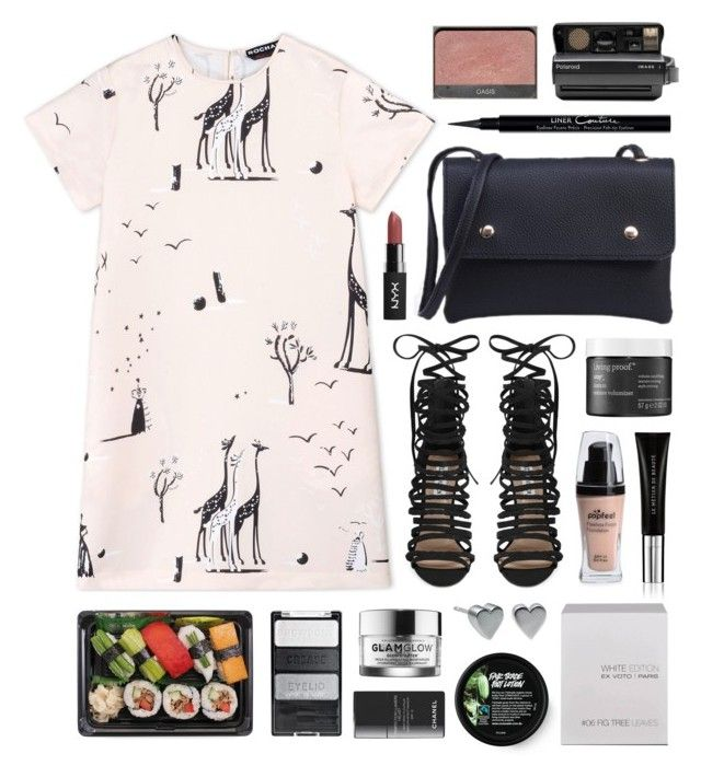 """Rochas"" by sophiehackett ❤ liked on Polyvore featuring Rochas, Steve Madden, Living Proof, Le Métier de Beauté, GlamGlow, Ex Voto Paris, Polaroid, Givenchy and Chanel"