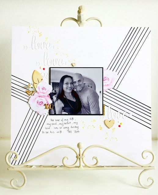 Inspired by Stamping, Jo Herbert, Love Sentiment Die, Valentine's Day scrapbook page