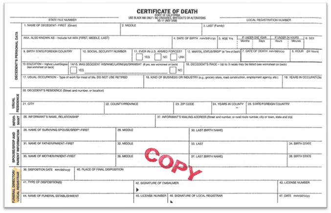 Blank death certificate google search death and dying blank death certificate google search yadclub Choice Image