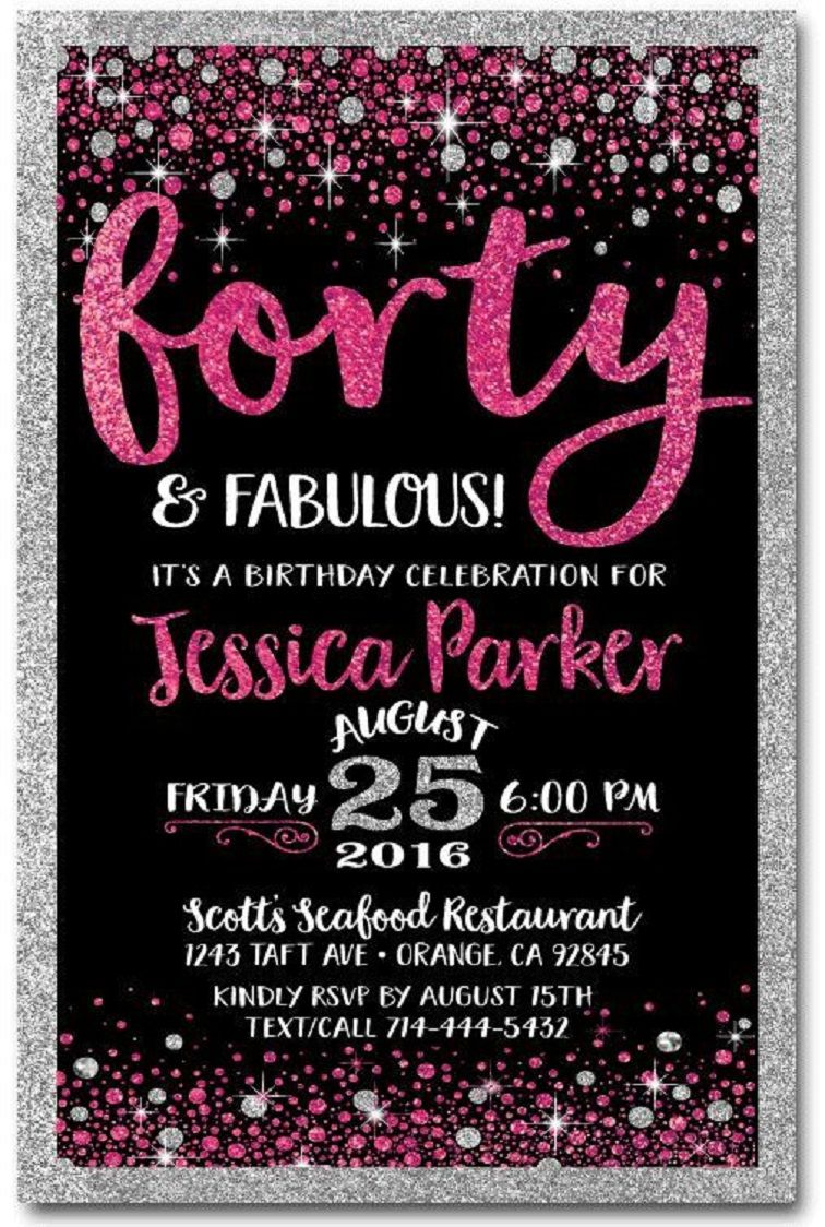 40th Birthday Invitations For Women Party Invitation Card In 2019