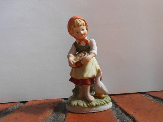 Vintage capodimonte figurine girl with goose matt capodimonte
