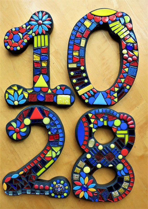 Mosaic House Numbers 7 Tall Customizable Mixed Media Mosaics
