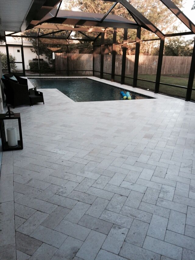 Shell Stone Travertine Pavers Pool Design In 2019 Pool