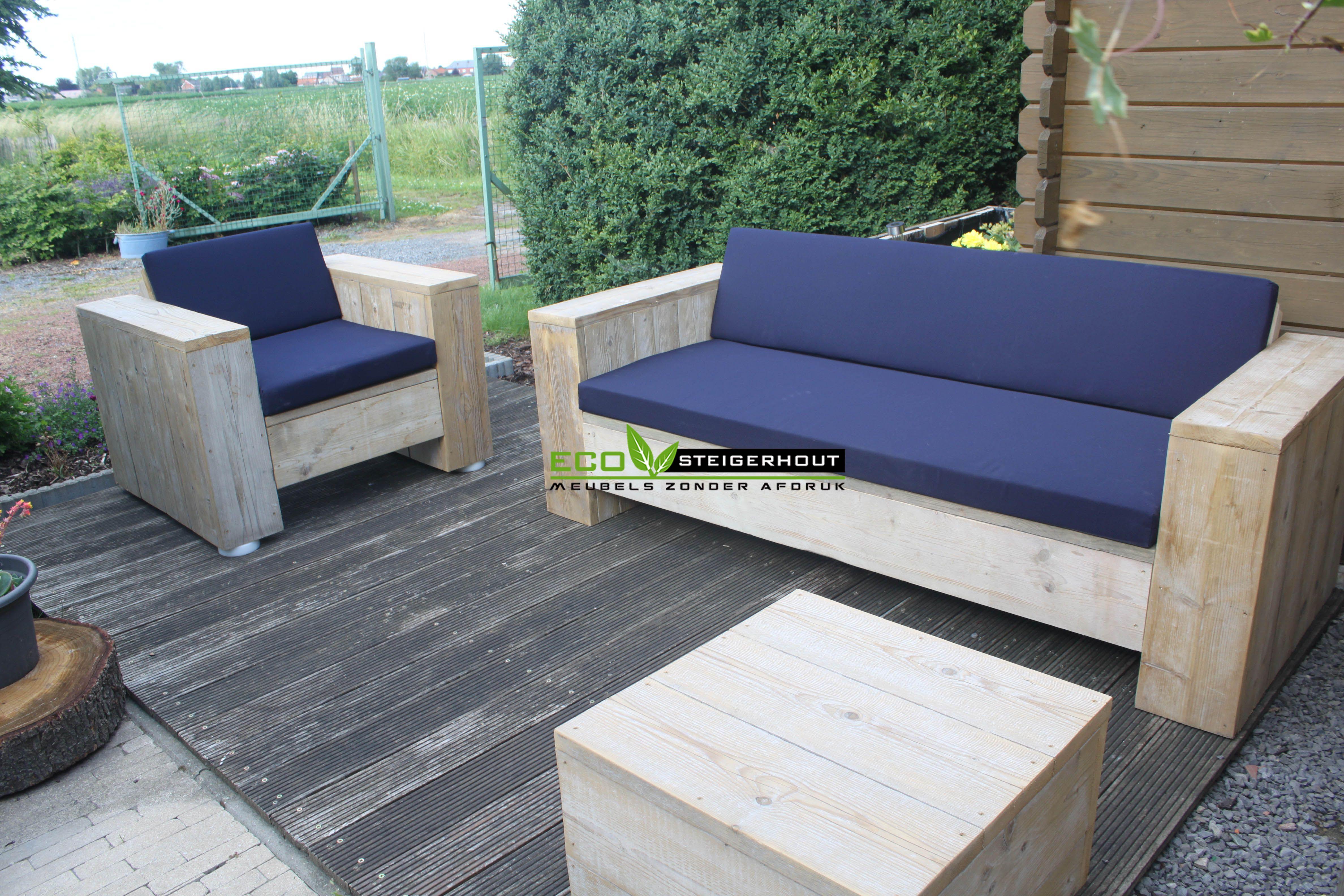 All Weather Kussens : Steigerhouten loungeset nevis! gemaakt van onbehandeld oud