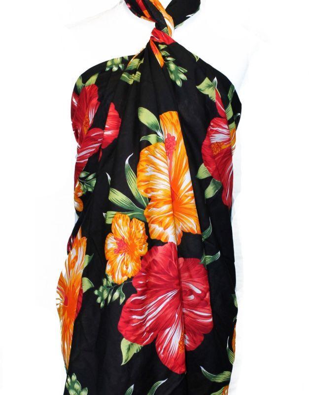 007f8cdd75a89 Jumbo Plus Size Tropical Cruise Beach Luau Sarong Wrap Dress Double Flora  Orange Sarong Wrap,