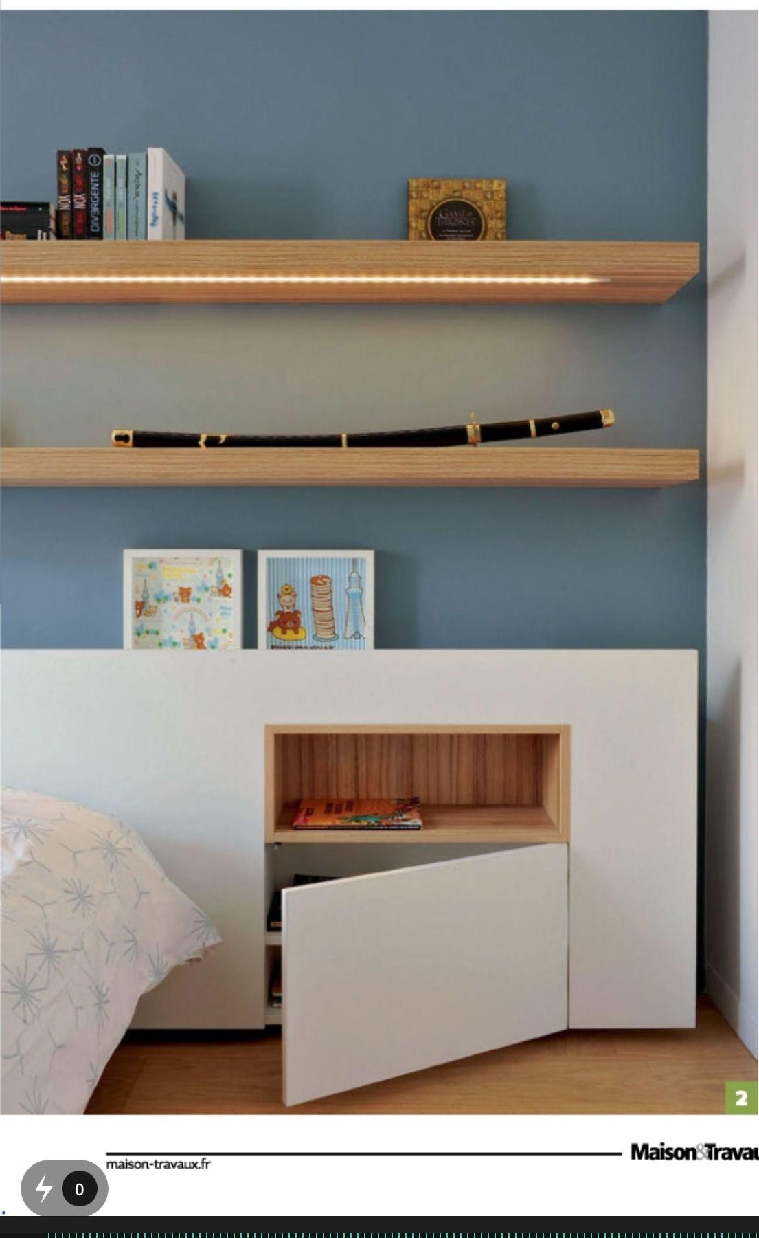 Table De Chevet Integree En 2020 Dormitorio Con Paredes De Ladrillo Dormitorios Muebles Dormitorio