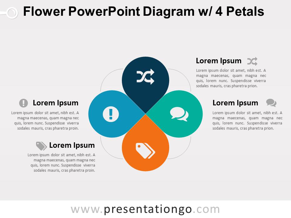Flower powerpoint diagram w 4 petals presentationgo diagram flower diagram with 4 petals for powerpoint ccuart Images