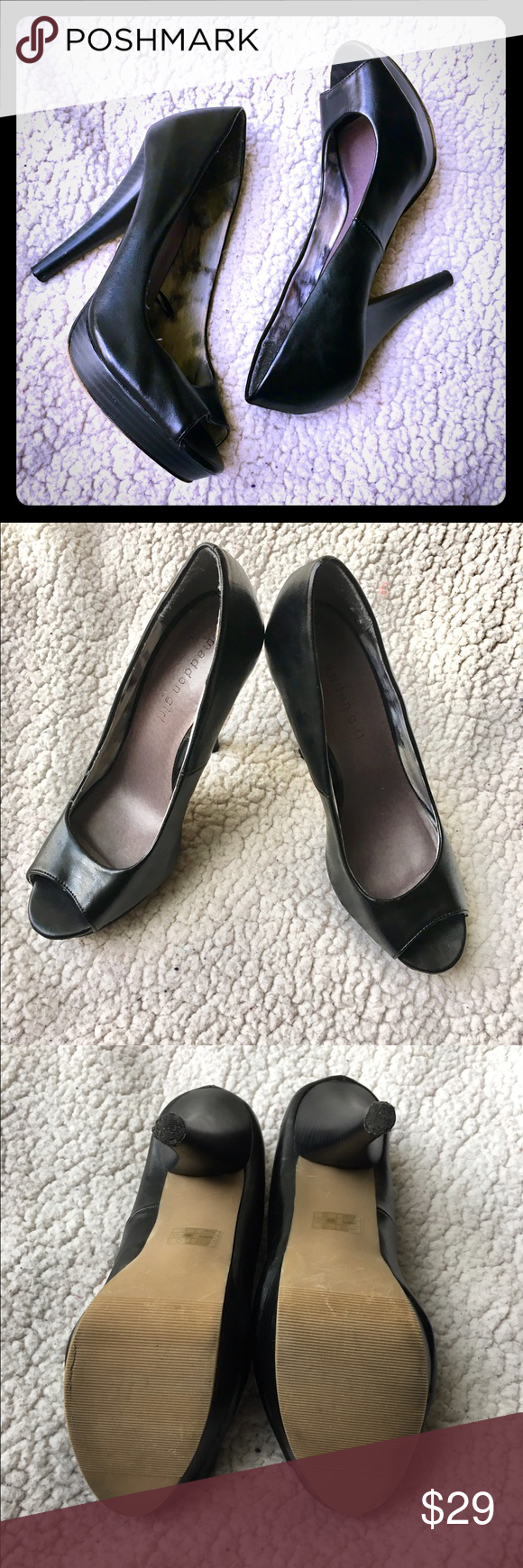 🎈PRICE CUT🎈⭐️Madden Girl Black Leather Heels⭐️ These Madden Girl heels are in gorgeous condition! They are beautiful and elegant; perfect for many occasions. There is minimal wear on the soles (looks like from the sticker being pulled off) and natural wear on the bottoms (very minor and can probably be removed). They have a 5 inch heel. I will accept reasonable offers. Madden Girl Shoes Heels