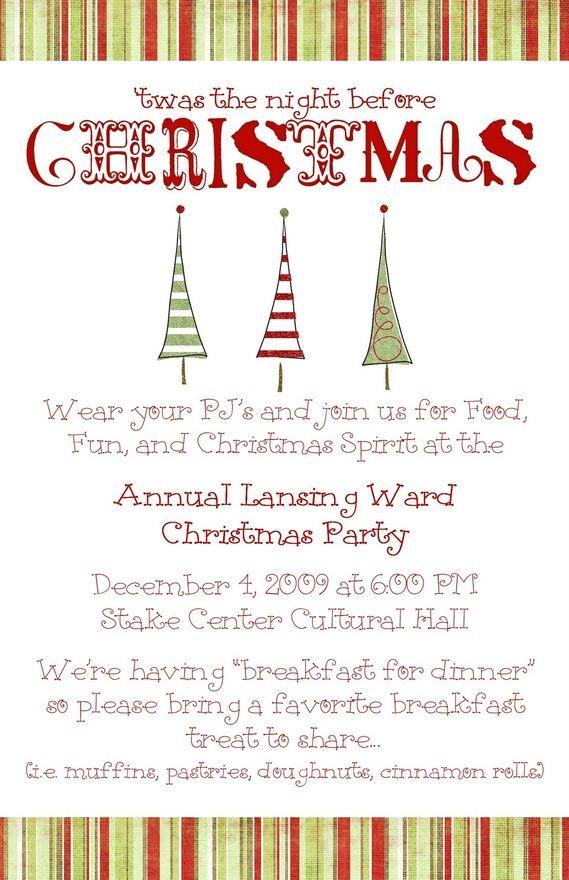 Christmas Party Ward Invite Christmas Pajama Party