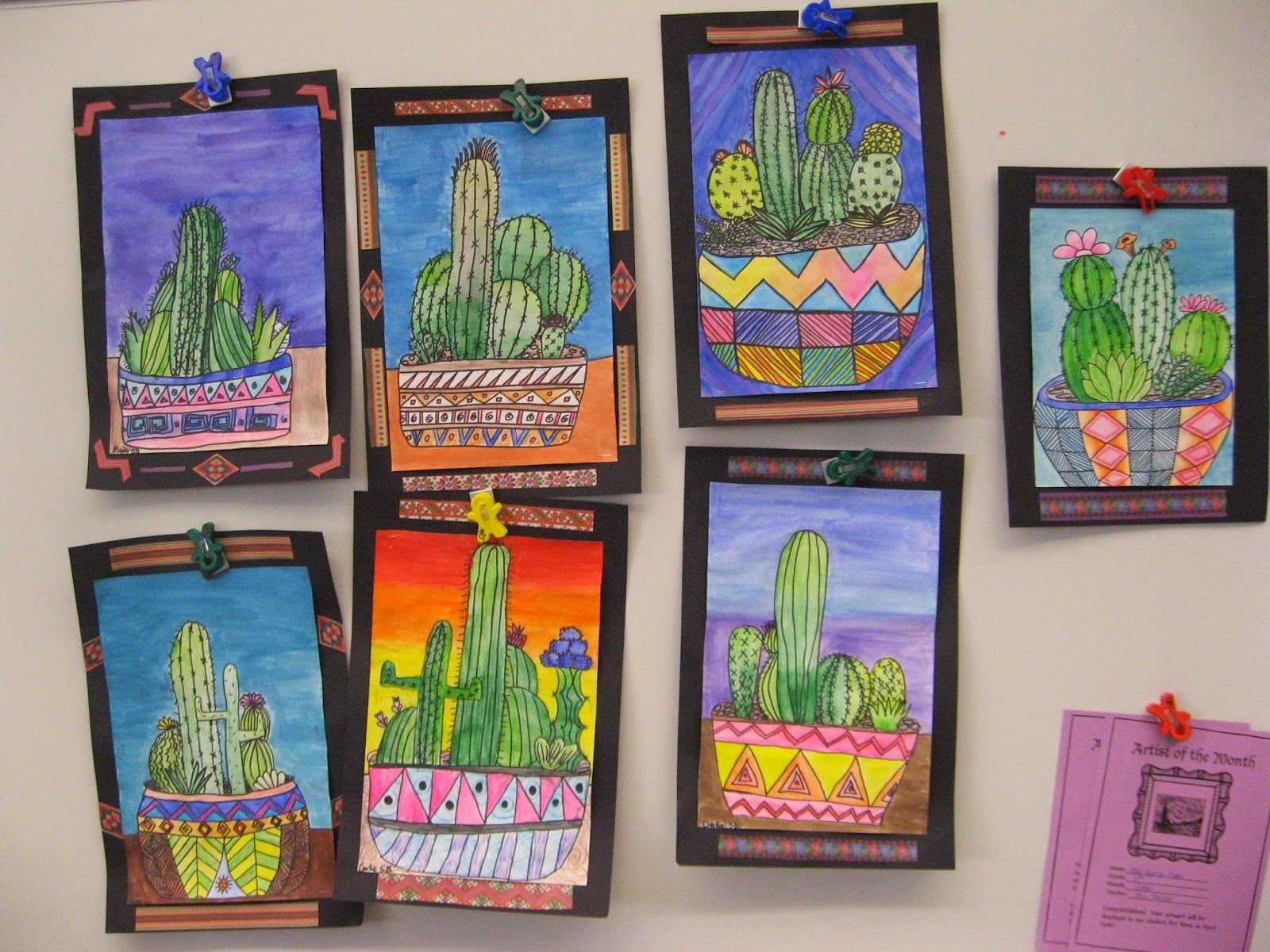 Jamestown Elementary Art Blog: 5th Grade Mexican cacti! | Cultural ...