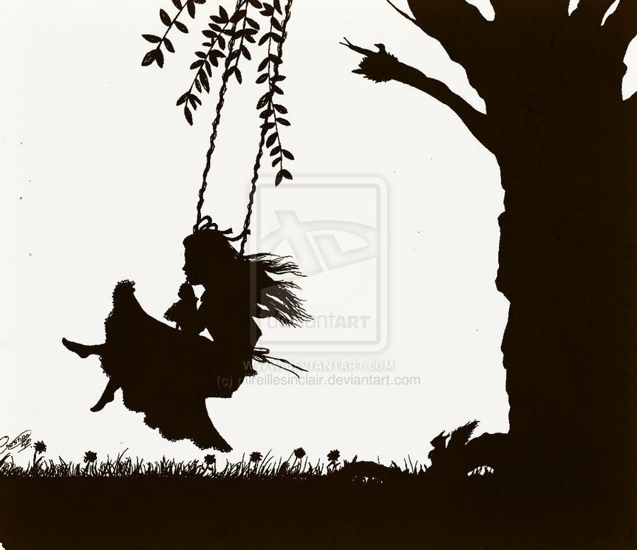 girl on a swing silhouettes | Swinging Silhouette by mireillesinclair