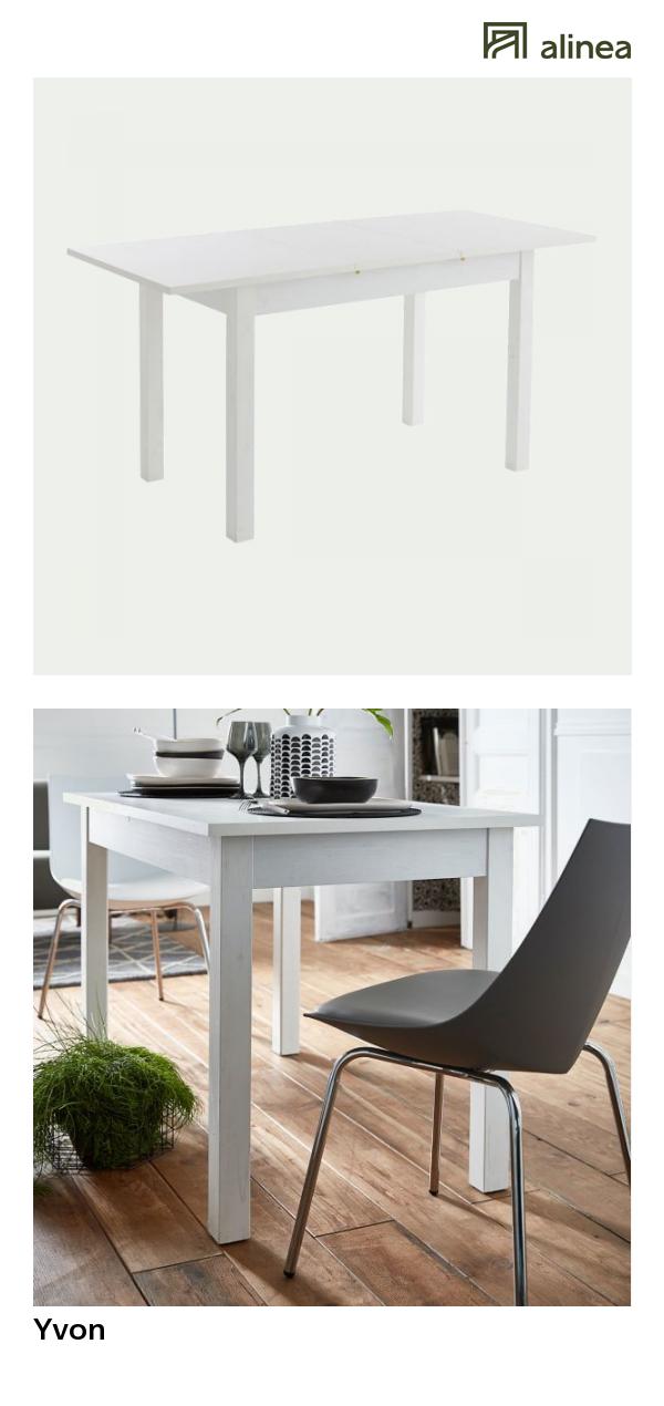 Alinea Yvon Table De Repas Blanche Extensible L120 A 160cm 4 A 8 Convives Meubles Salle A Manger Et C Table Repas Meuble Salle A Manger Table Extensible