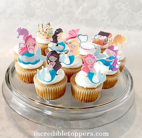 Mermaid Cake Topper Edible Decorations Cupcake Toppers Edible