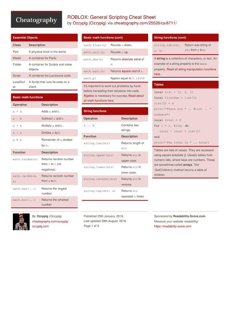Pin by Melanie Corbett on Roblox | Cheat sheets, Script