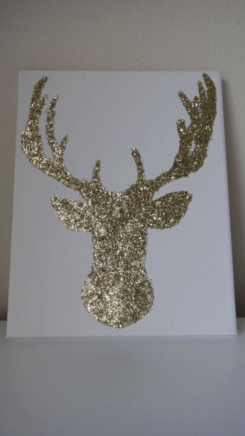 Glitter Wall Art 8x10 gold glitter reindeer deer canvas wall art | gold glitter