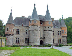 Spontin Castle (French: Château de Spontin) is a medieval castle in the village of Spontin in the municipality of Yvoir, province of Namur, Belgium. With its massive walls, its towers topped with slate and with its moat with drawbridge it looks like a medieval castle.