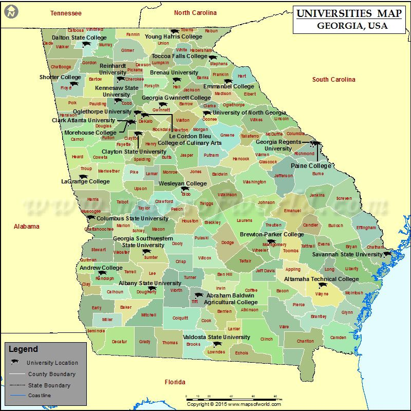 Map Of Georgia With Universities And Colleges USA Maps - Us map of colleges and universities