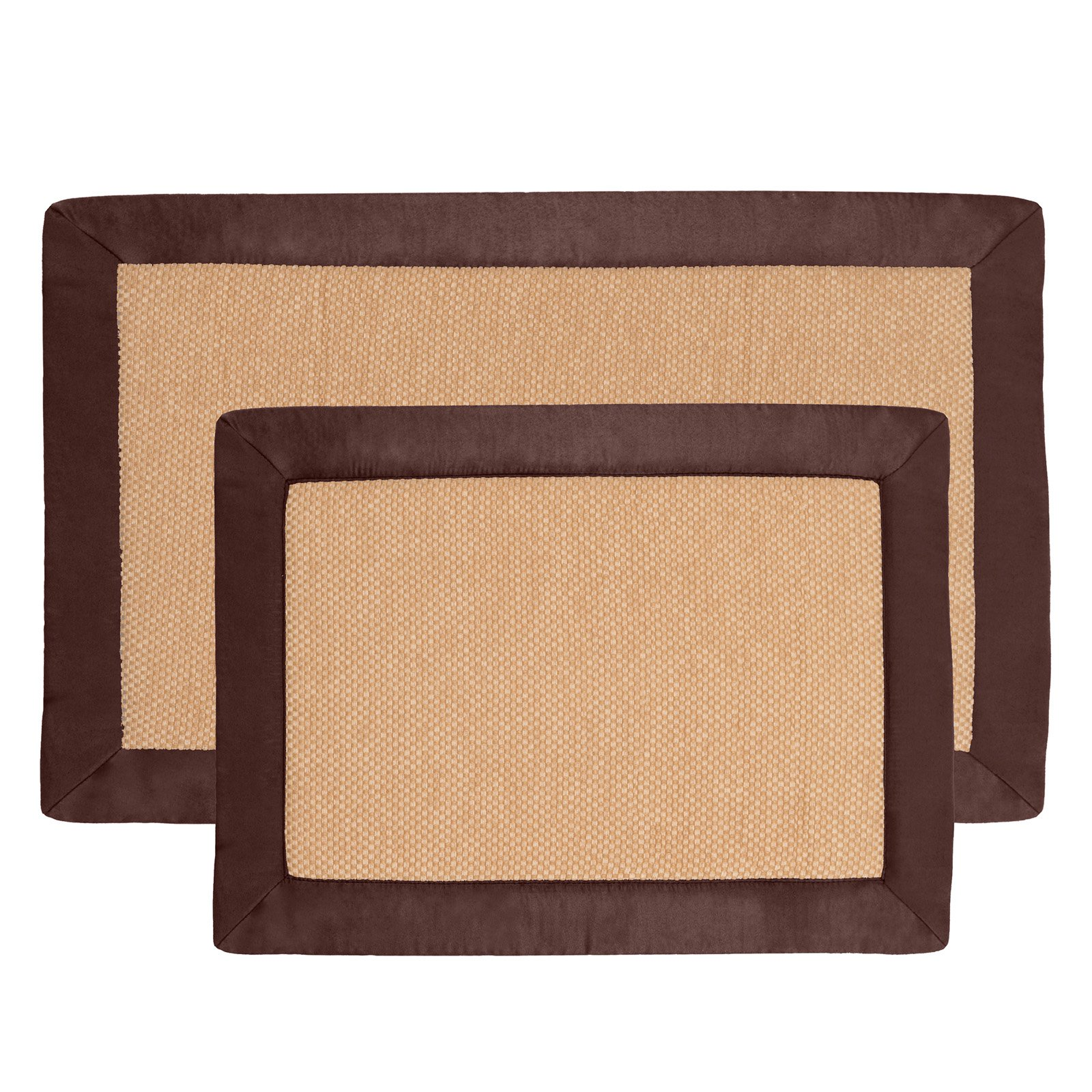Lavish Home Faux Linen Fleece Memory Foam Bath Mat Set Set Of 2