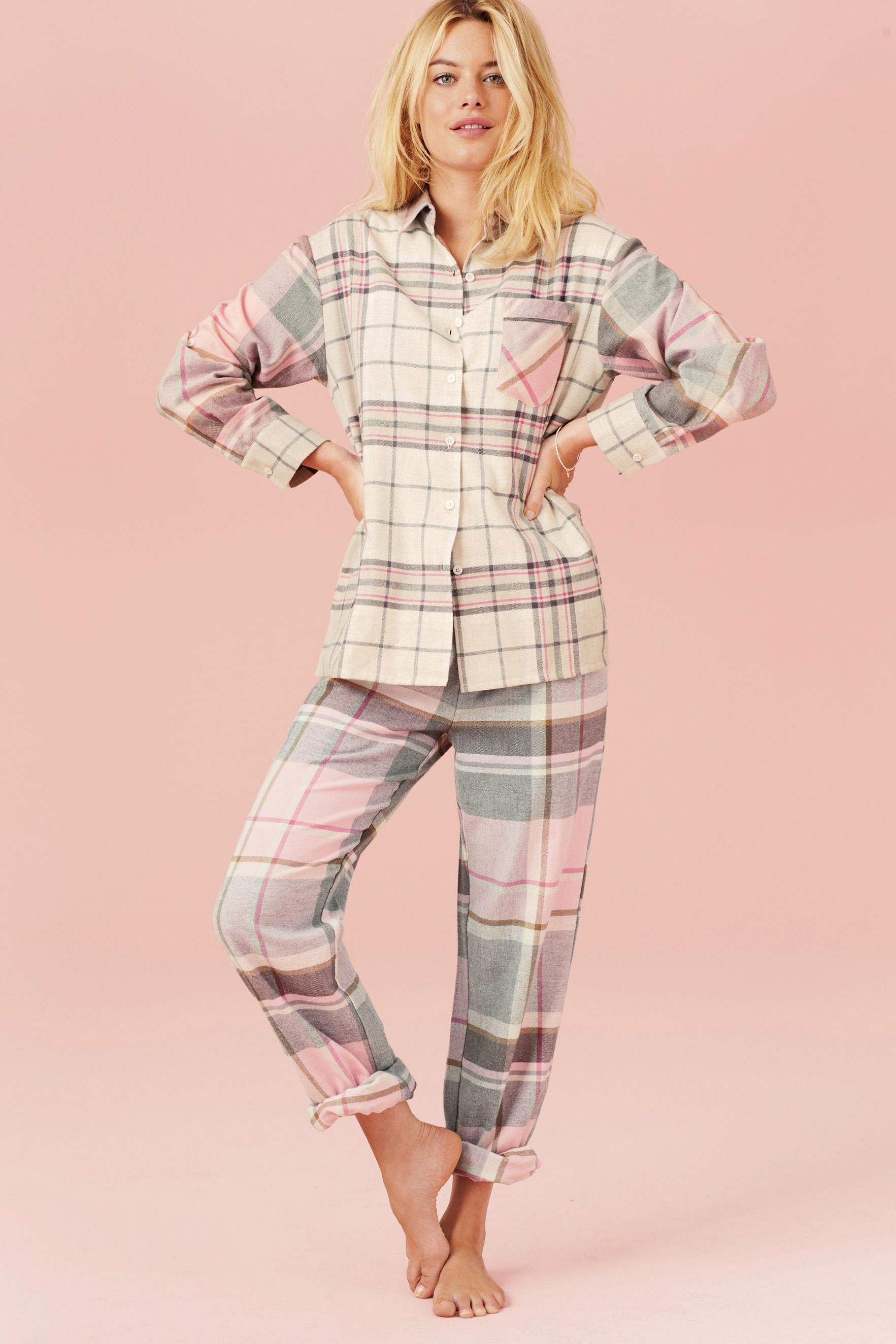 Buy Pink Check Flannel Pyjamas from the Next UK online