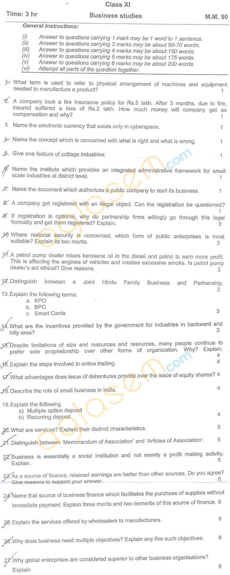 cbse class 11 half yearly question papers  u2013 business