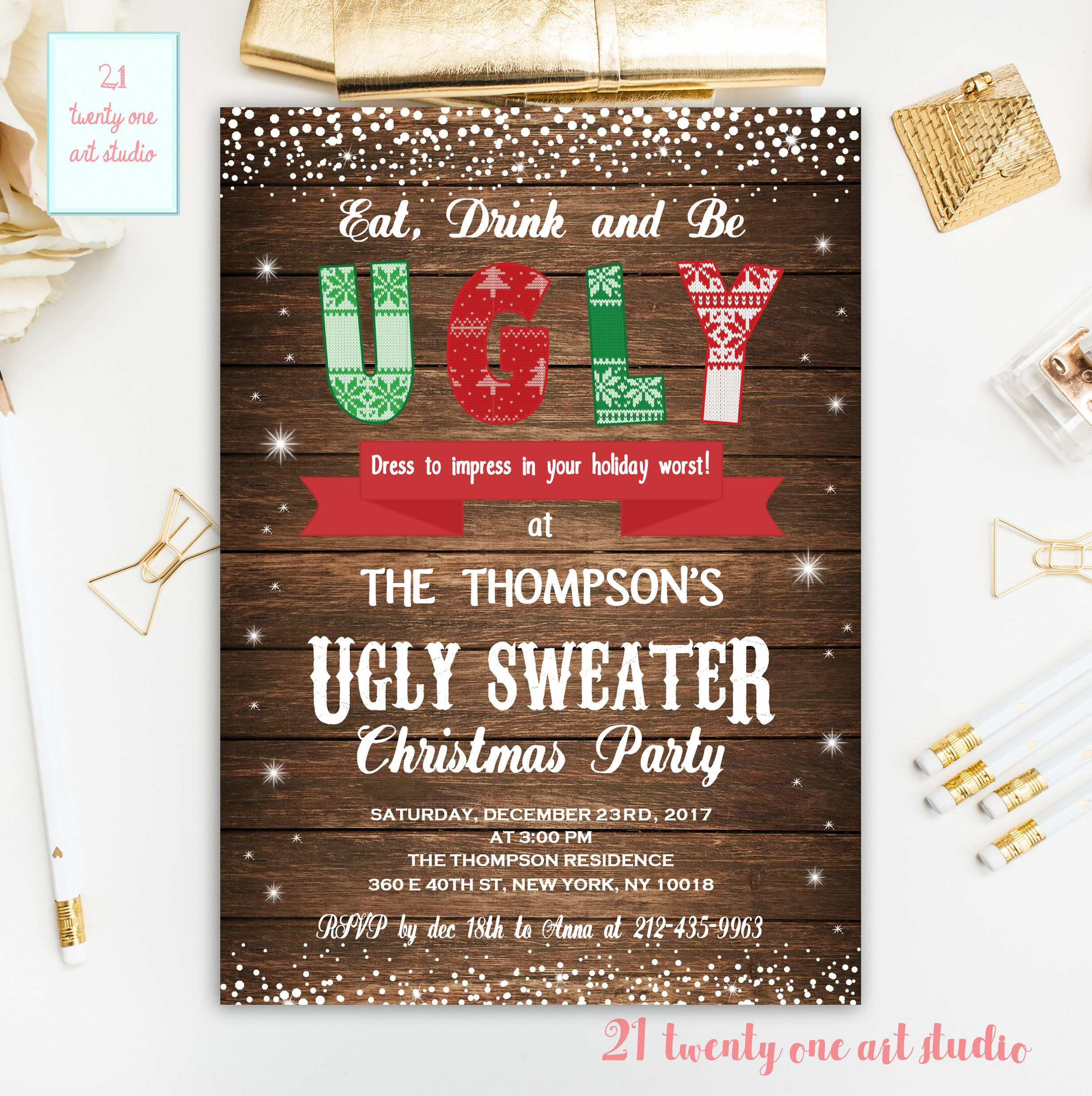 Ugly Sweater Invitation, Ugly Sweater Party Rustic Invitation ...