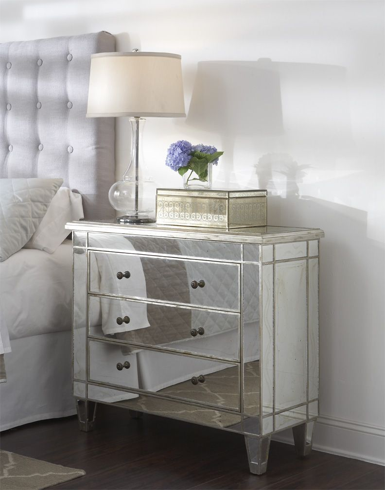 Furniture Captivating Bedroom Decoration Design Idea Using Mirrored Tissue Box Including  Drawer Mirrored Bedside Table And Tufted Cream Fabric