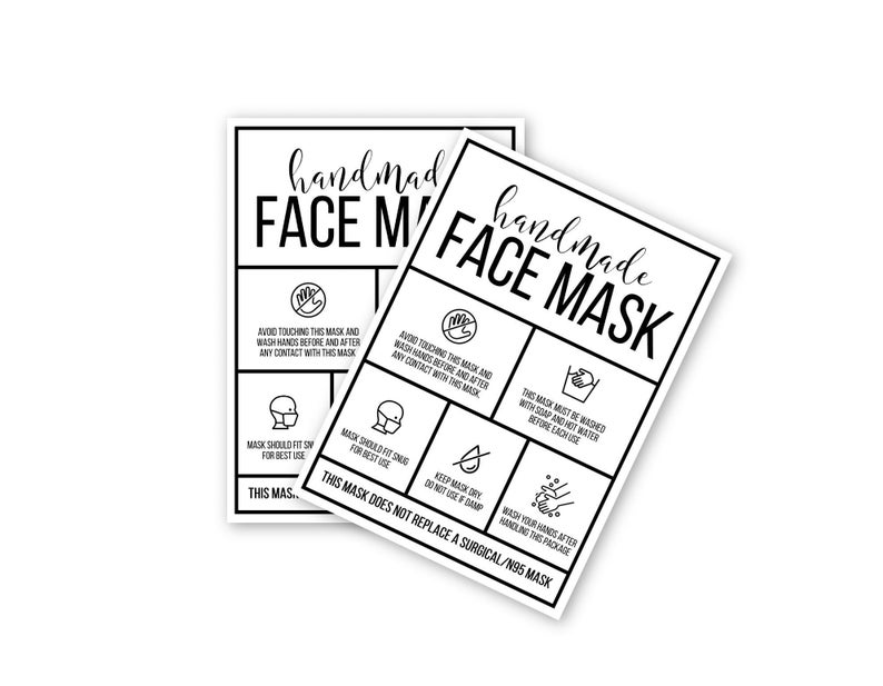 Printable Face Mask Card Maintenance Instructions Care Card Digital File Cards Cardstock Paper Print Stickers