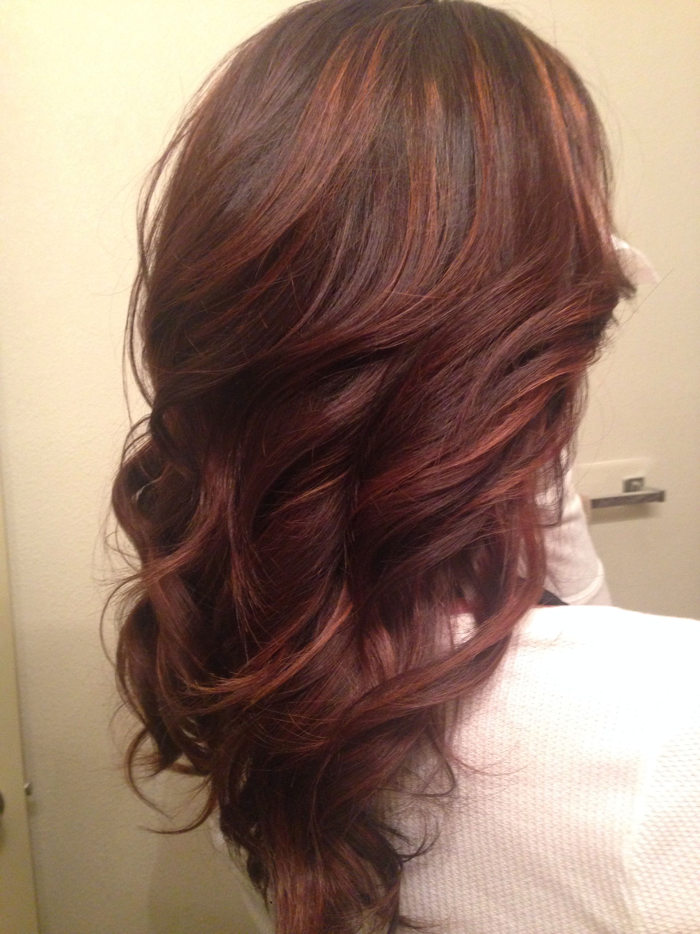 brown hair red highlights