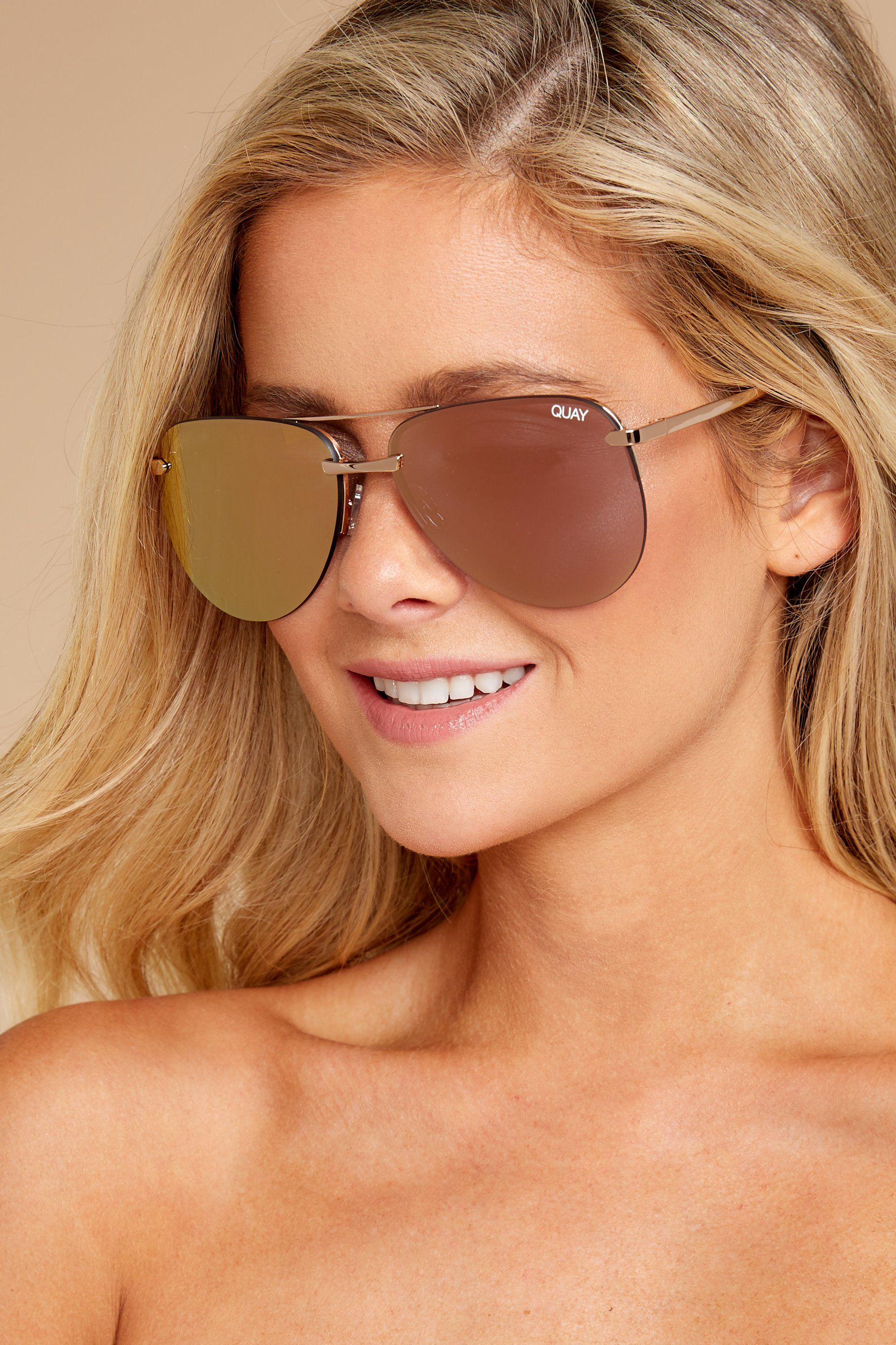 3d72620aa7bab Quay Australia Gold Pink Sunglasses - Chic Sunnies - Sunglasses -  60 – Red  Dress Boutique