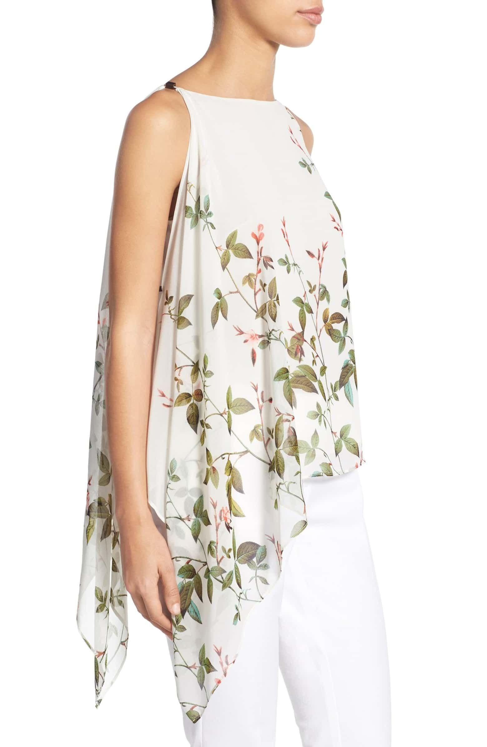 037873100fed Floral Print Asymmetrical Chiffon Blouse, Alternate, color, 121 ...