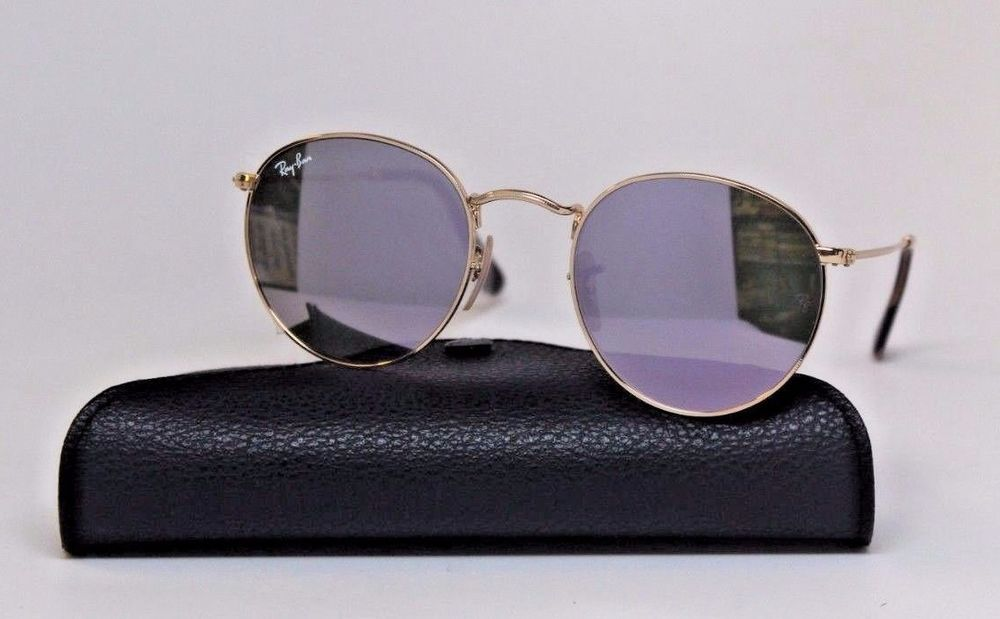 210ae1927d7cf RAY BAN 3447N Round Metal 001 80 -50 21 145- Purple Mirror Lens GOLD Frame   RayBan  Round