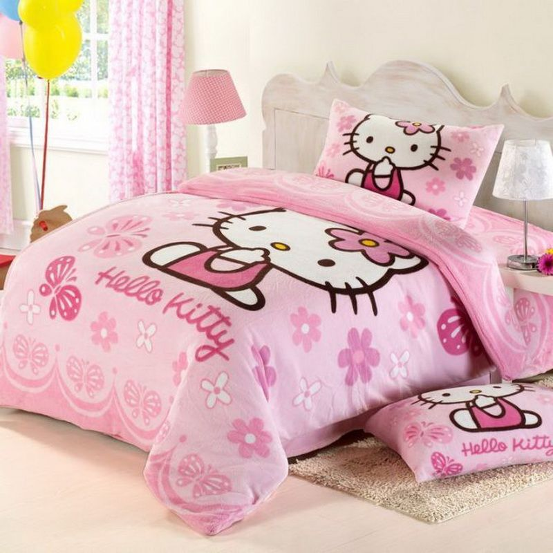 Bedroom Ideas Hello Kitty Soft Bedroom Colors Childrens Turquoise Bedroom Accessories Bedroom Decorating Ideas Gray And Purple: Princess Pink Hello Kitty Bedding Set