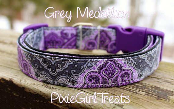 Damask Dog Collar, Purple Dog Collar, Purple Damask Dog Collar, Elegant Dog Collar, Paisley Dog Collar, Gray Dog Collar, Adjustable Collar
