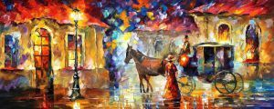 Horses oil painting on canvas by Leonid Afremov by Leonidafremov