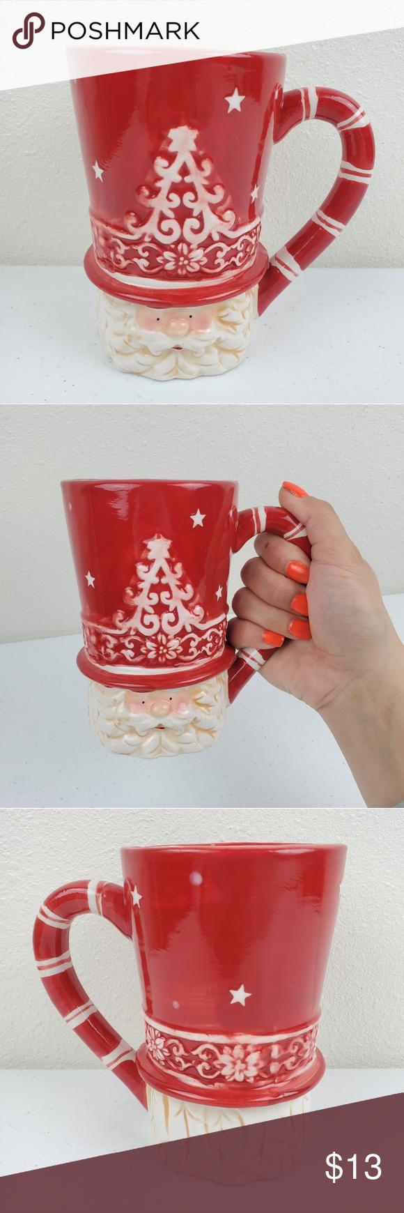 Christmas Santa Clause Large Holiday Coffee Mug Preowned