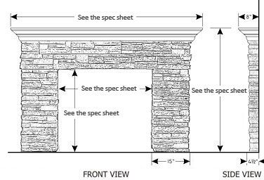 STANDARD FIREPLACE MANTEL DIMENSIONS - FIREPLACE MANTEL | 4000 ...