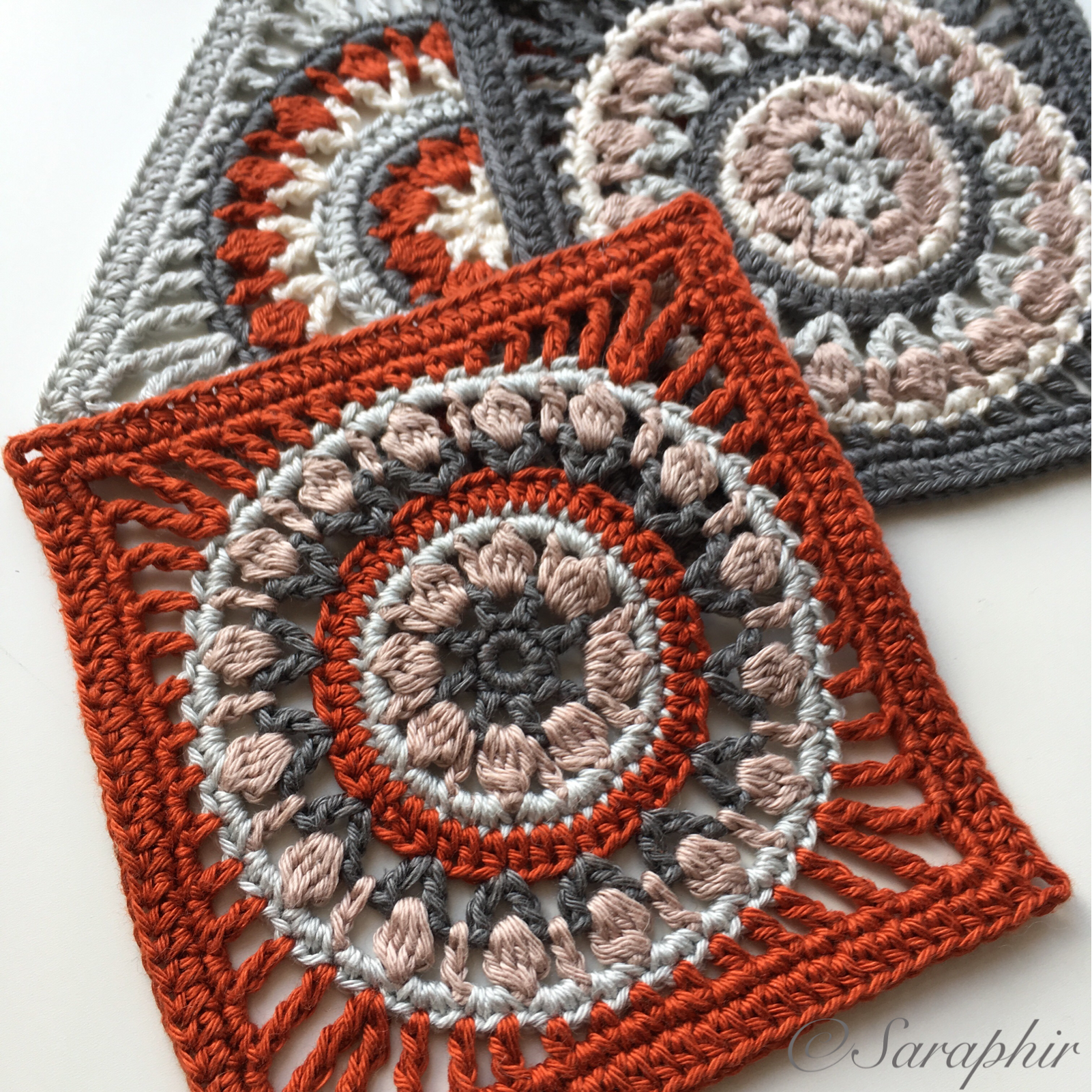 Small Flower Wheel Coaster Square - a Free Crochet Pattern | Small ...