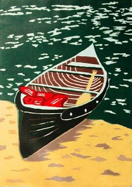 boat on the beach, Woodcut
