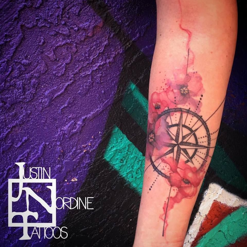 My compass rose and water color poppy tattoo- thanks pinterest for all the ideas! Thank you Justin for making it so damn gorgeous! #therusticsouls