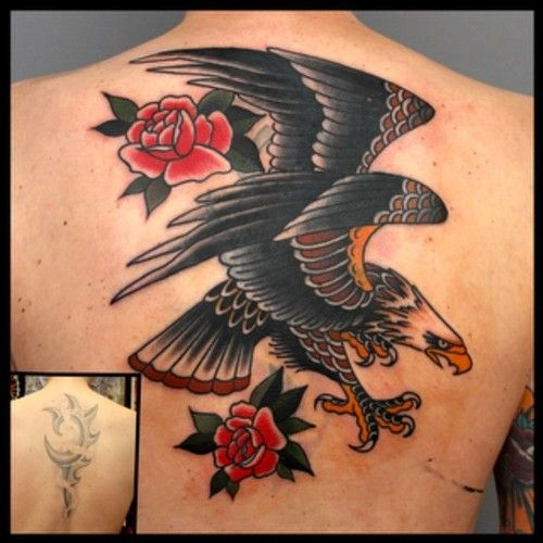 Traditional eagle back piece cover up tattoo love for Traditional americana tattoos