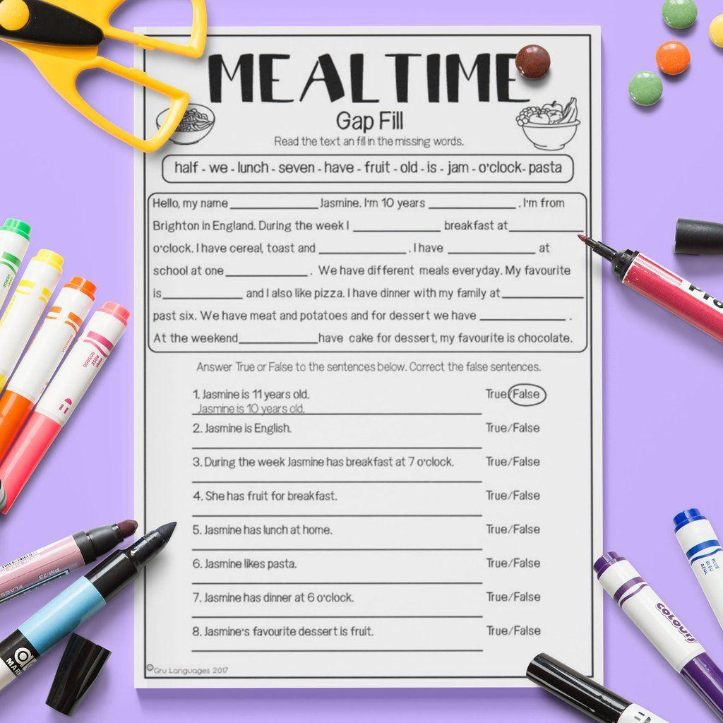 ESL Kids Mealtime Gap Fill Activity Worksheet #esl | ESL Kids \'Food ...