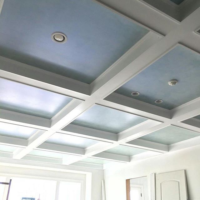 Coffered ceiling finish using Modern Masters Flash Blue Metallic Paint.  Project by Amie Freling of