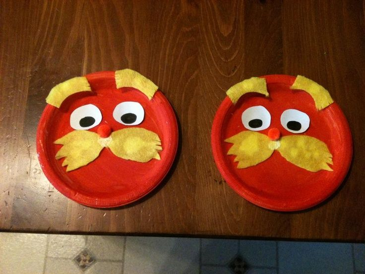 "dr seuss crafts | paper plate ""LORAX"" crafts ;) 