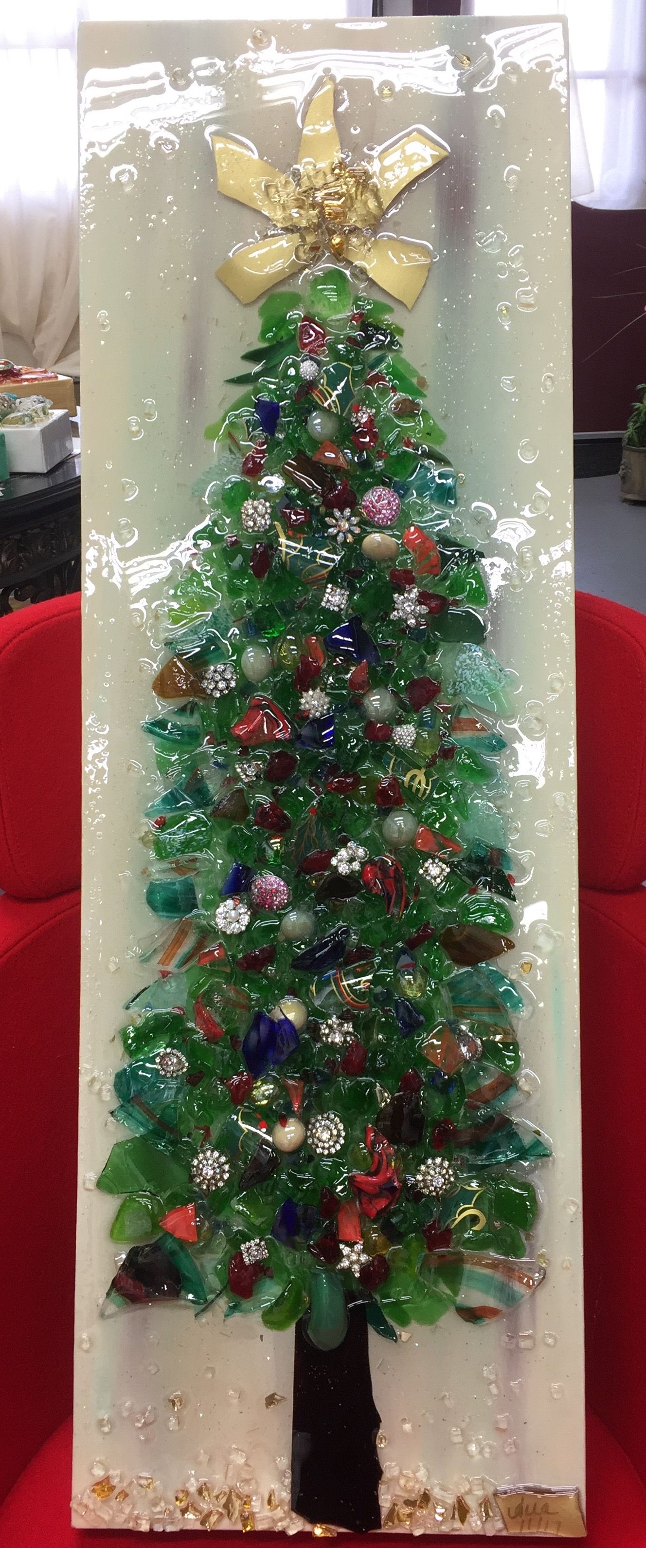 Ornate Handmade Glass Christmas Tree By American Artist Anna Fenimore Glass Christmas Decorations Fused Glass Ornaments Broken Glass Crafts