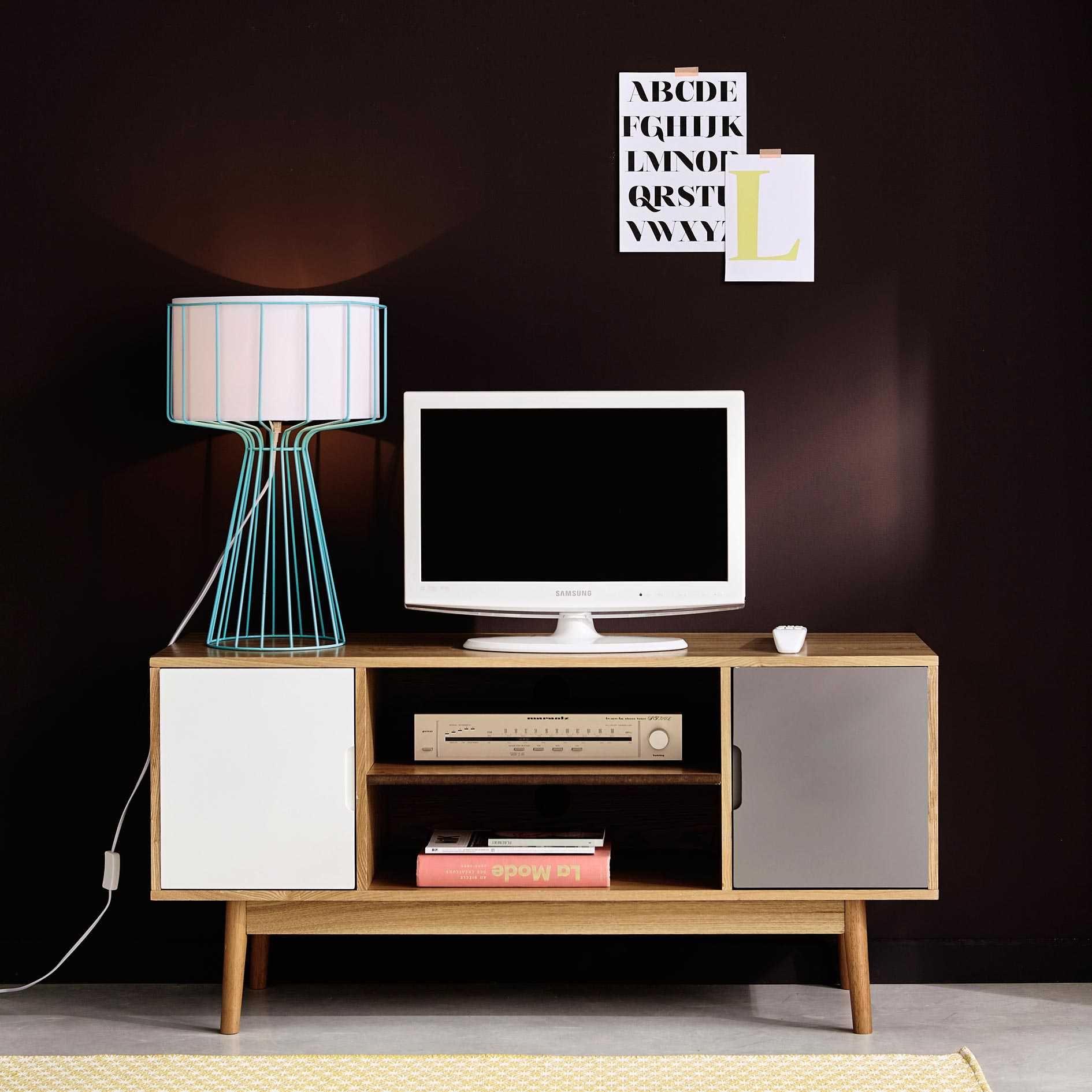 Meuble Tv Vintage 2 Portes Blanc Et Gris Meuble Tv