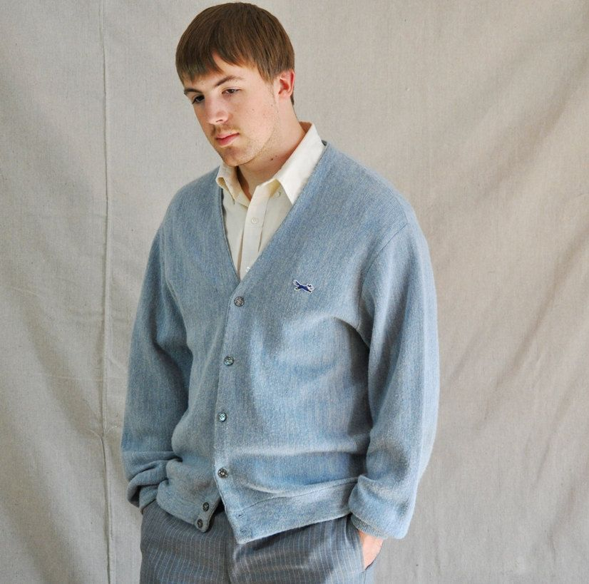 Men's Blue Cardigan. Vintage Button-Up Powder Blue Men's Sweater ...
