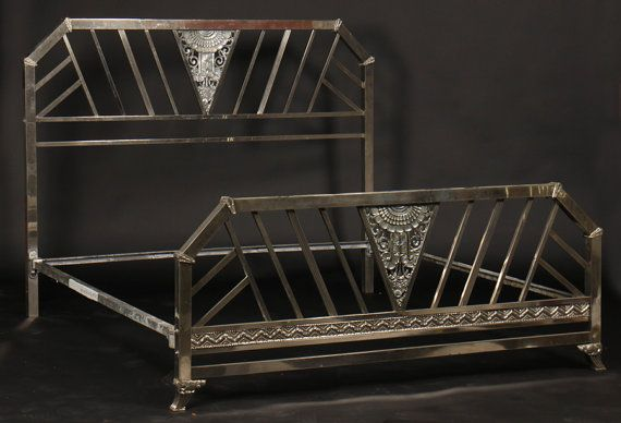 Chrome Art Deco king size bed