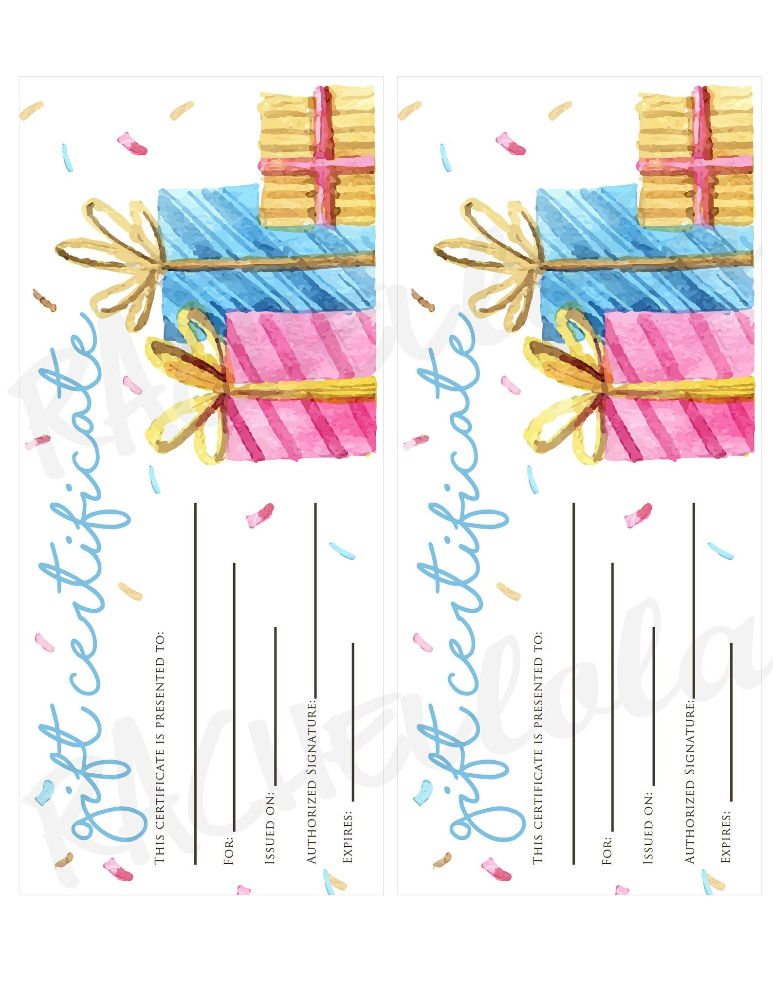 Birthday Printable Gift Certificate template, Photography