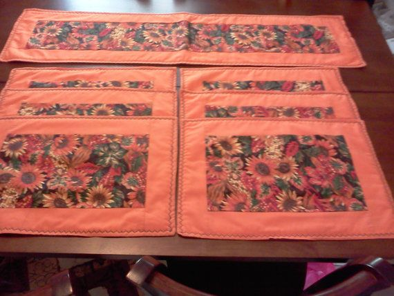 Thanksgiving or fall table runner & six by domichcreations on Etsy, $25.00